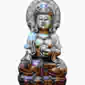 Vintage Natural Jade Stone Kwan Yin Statue cs649E by GoldenLotusAntiques
