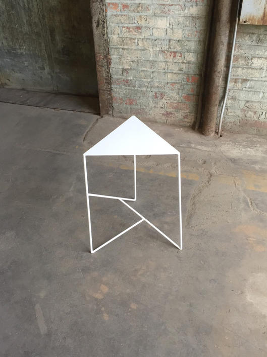 Side Table with Modern Triangle Top and Geometric Steel Base by PWHFurniture