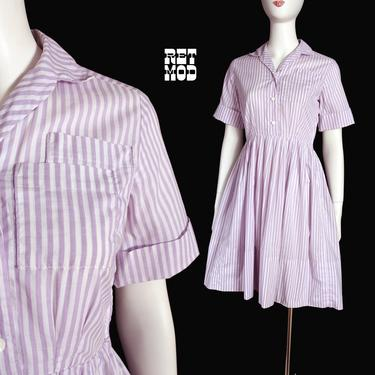 Cute Vintage 60s 70s Pastel Purple & White Stripe Fit and Flare Cotton Dress by RETMOD