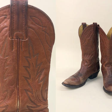 Vintage 1980s Reddish Brown Nocona Boots, Vintage Distressed Cowboy Boots, Line Stitching, Western Southwestern, Size 8.5/9 by MobyDickVintage