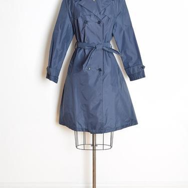 vintage 80s jacket raincoat navy blue nylon trench coat Totes belted XL clothing by huncamuncavintage