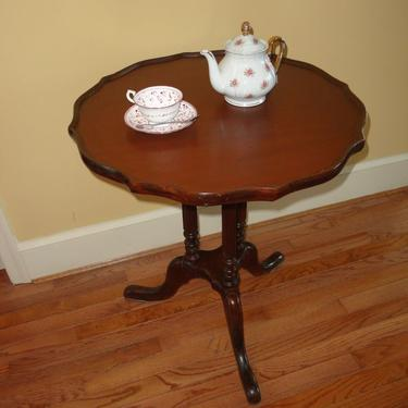 Old table refinished.  Would be perfect in the dinning room to hold those delicious desserts!
