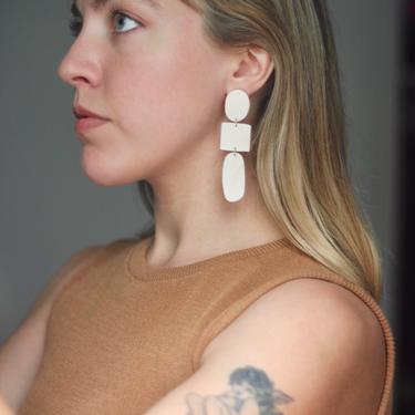 White Long Dangle Earrings / Geometric Statement Earrings / Polymer Clay Handmade Jewelry / Lightweight / Hypoallergenic by theXENIASTUDIO