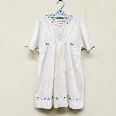 Vintage 1910s Edwardian Hand-Embroidered White Batiste Girl's Dress, WW1 Era Cotton Summer Chemise, Teens Era Slip or Underdress by RanchQueenVintage