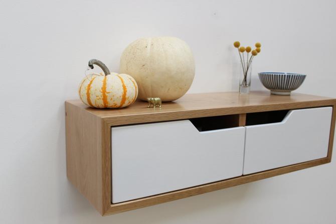 Modern Floating White Oak Console by ImagoFurniture