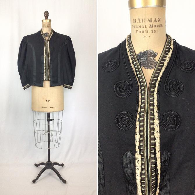 Antique Victorian Jacket | Vinatge black wool satouche overshirt jacket | 1900s Victorian bodice jacket by BeeandMason