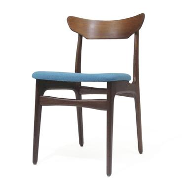 6 Schionning & Elgaard Teak Dining Chairs in Teal Fabric