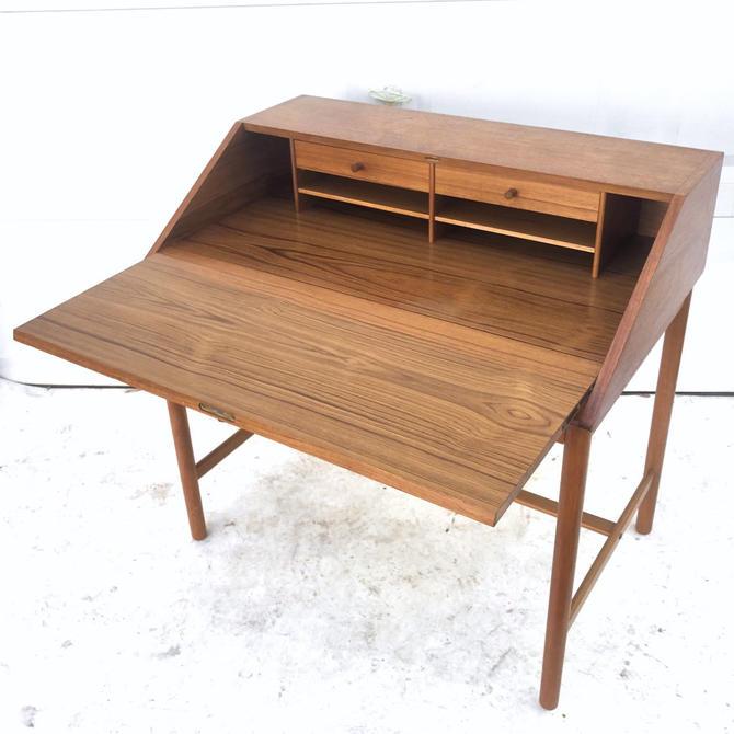 Mid-Century Modern Teak Drop Front Desk by Torbjorn Afdal by secondhandstory