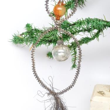 Antique Double Mercury Glass Balls in Tinsel Wreath with Spray Christmas Ornament, Vintage Victorian Decor by exploremag