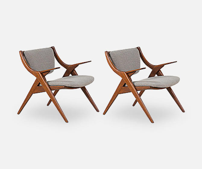 "Paul Laszlo ""Scissor"" Lounge Chairs for Brown Saltman"