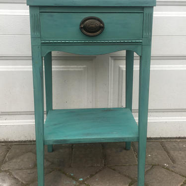 Vintage Turquoise Nightstand, Antique Green Nightstand, Bedside Table, Night Table, End Table Free NYC Delivery by AntiqueBoutiqueNYC
