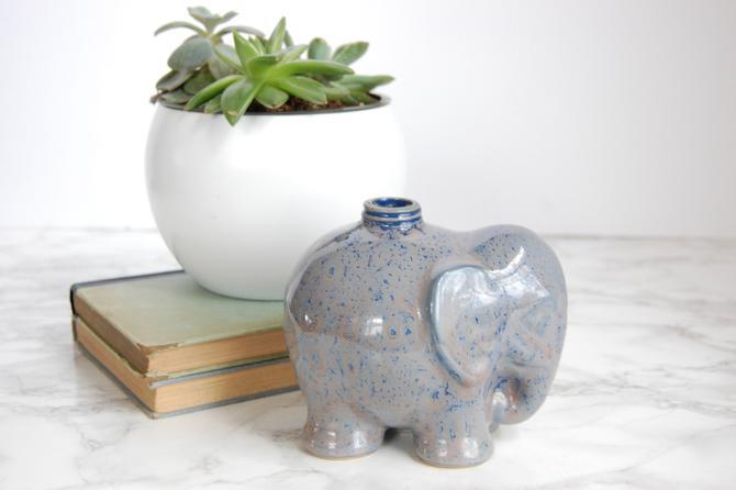 Elephant Pottery Bud Vase Elephant Statue Vintage Elephant Figurine by PursuingVintage1