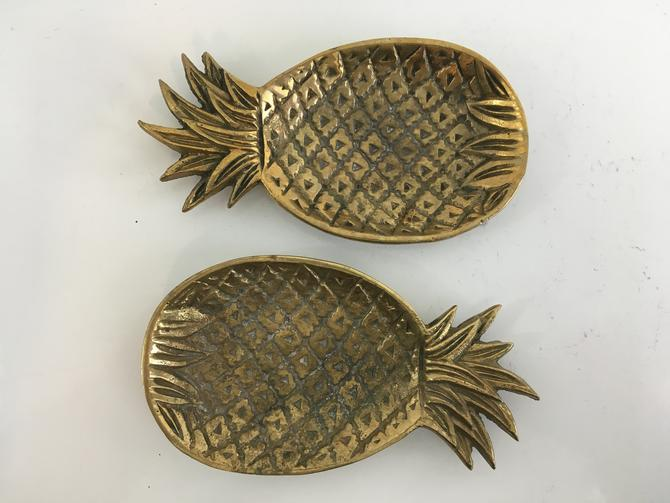 Vintage Brass Pineapple Tray Set of Two (2) Dishes Leaves Trinket Jewelry Ring Gold Organizer Vanity Decor Mid-Century MCM Hollywood Regency by CheckEngineVintage