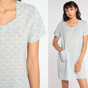 Floral Mini Dress 90s Baby Blue Pocket Dress 1990s Vintage Shift Short Sleeve Retro Summer MiniDress Medium by ShopExile
