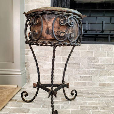 Antique Italian Art Nouveau Scrolled Openwork Wrought Iron Plant Stand & Older Hammered Copper Cooking Pot Planter by RabidRabbitAntiques