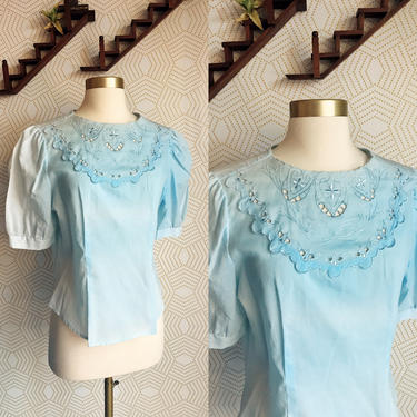1960s Robins Egg Blue Vintage Blouse, PAT Fashions Vintage Blouse, 60s Blouse, 60s Fashion, Made in the USA, 1960s Vintage by FolkandCup