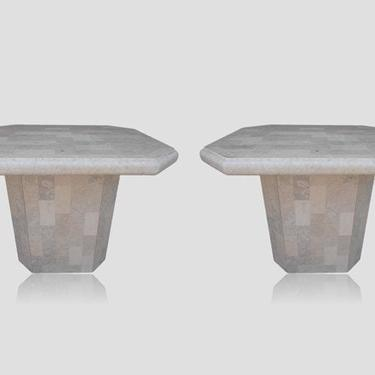 Pair Mid Century Tessellated Stone Pedestal End Tables In the Style of Karl Springer by VeronaVintageHome