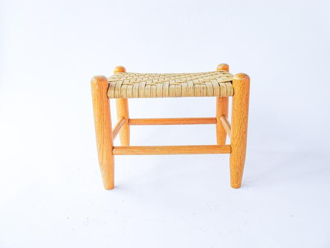 Vintage Splint Wood Woven Style Small Stool / Bench / Plant Stand by PortlandRevibe