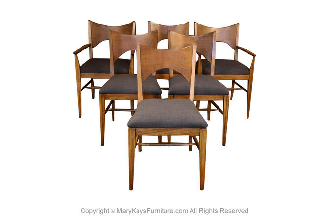Mid Century Broyhill Saga Walnut Paul McCobb Style Dining Chairs six by Marykaysfurniture