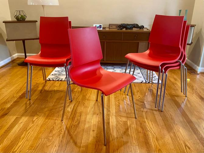 Knoll GiGi Stacking Red Chairs - 10 Available by MSGEngineering