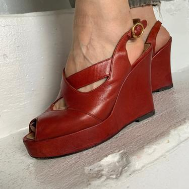 Incredible 1970s Red Leather Wedge Platforms Made in Italy Size 7 Vintage by AmalgamatedShop