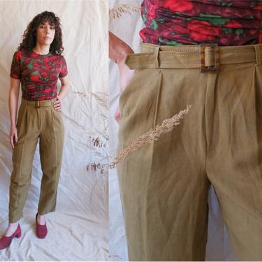 Vintage 90s Silk and Linen Belted Trousers/ 1990s Olive Green High Waisted Pants/ Size Medium 28 by bottleofbread