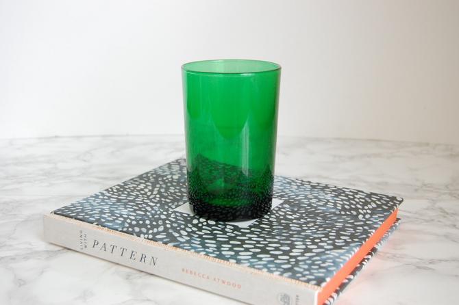 Vintage Emerald Green Glass Vase Vintage Green Cylinder Vase
