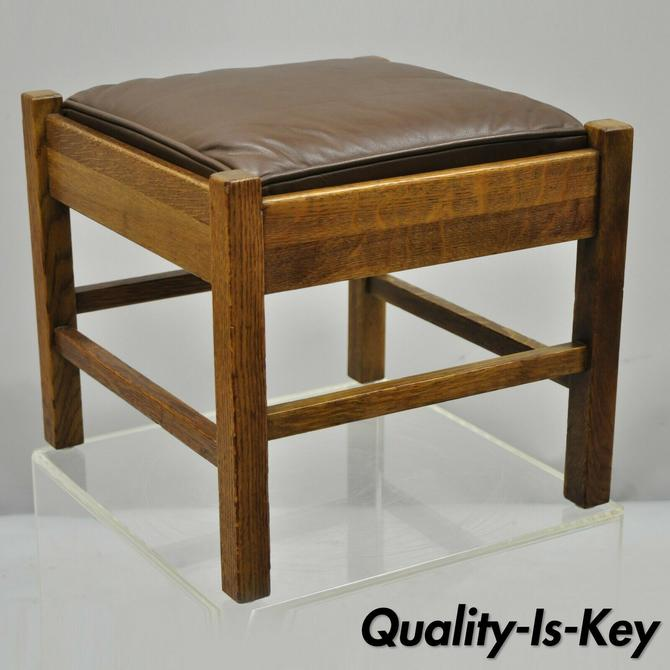 Lifetime Furniture 403 Mission Oak Arts & Crafts Leather Ottoman Stool Footstool