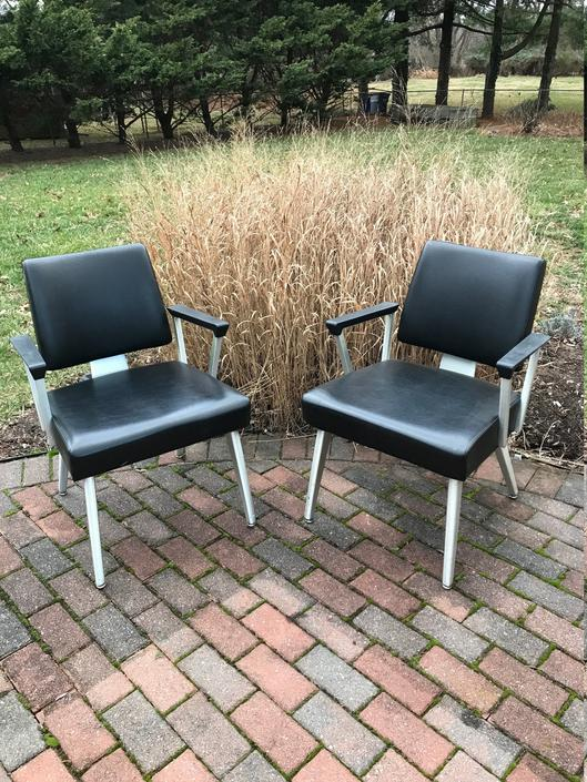 Vintage 1970s Good Form black armchairs -- trendy, trendy by LittleChairShop