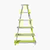 Distressed Yellow 5 Shelves Triangle Ladder Shape Bookcase Display Cabinet cs5416S