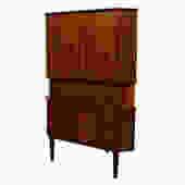 Danish Rosewood Locking Door Corner Bar Cabinet w / Drawers