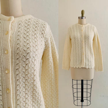 vintage 60's yellow knit cardigan by HarlowsVintage