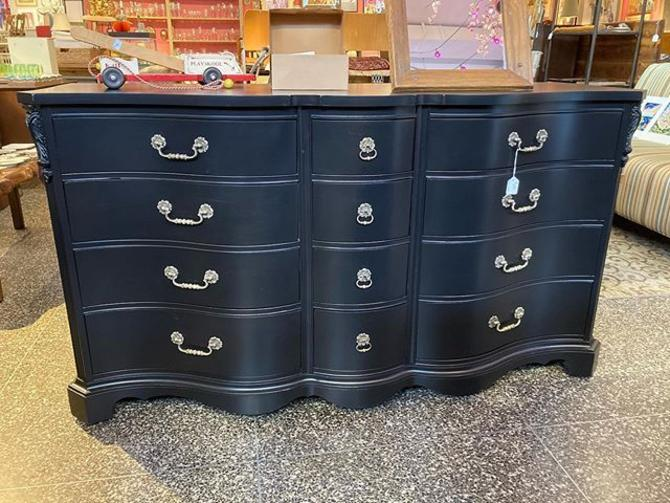 "12 drawer, black, painted, traditional dresser. So much storage! 64"" wide 22.5"" deep 35"" high."
