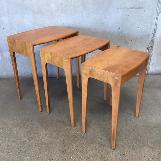 Set of Three Mid Century Heywood Wakefield Nesting Tables