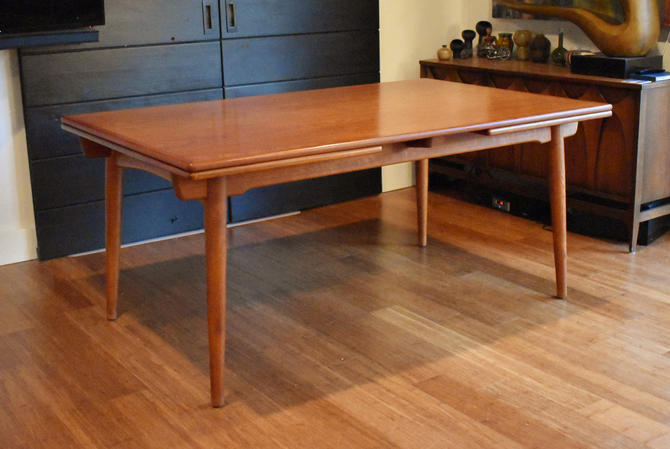 """Newly-restored Hans Wegner Danish teak extendable dining table AT312 - 110"""" long by MidCenturyClever"""