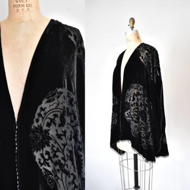 Brynn silk velvet burnout top, plus size cardigan, 90s clothing vintage, vintage clothing by ErstwhileStyle
