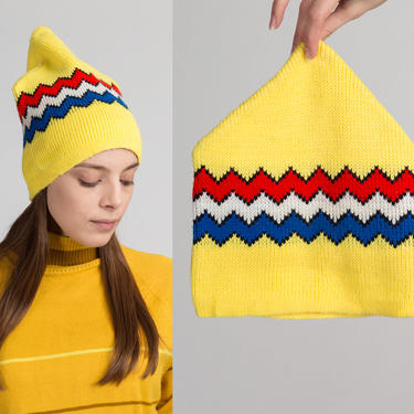 70s Retro Yellow Zig Zag Striped Winter Beanie Ski Hat by FlyingAppleVintage