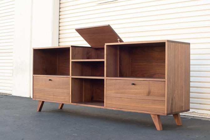 Flip Top Record Console With Drawers | Solid Walnut Mid-Century Vinyl Player Media Cabinet Stand by ADCOWoodWorks