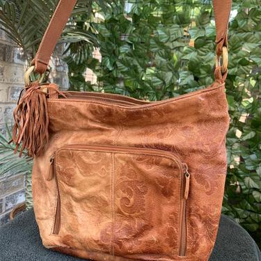 Brown Leather Crossbody by krispyfringe