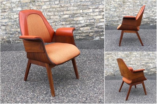 Molded Walnut Easy Chair