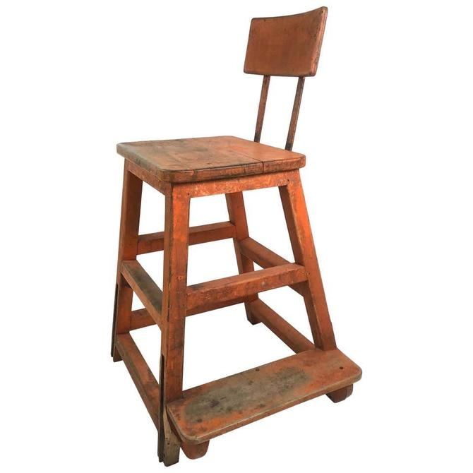 Orange Painted Wood and Metal Industrial Factory Stool, circa 1920s