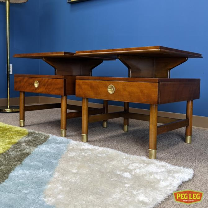 Pair of Mid-Century Modern nightstands with brass details by Renzo Rutili for Johnson Furniture