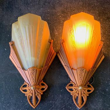 Slip Shade Wall Sconces by Virden #1869 SHIPPING INCLUDED by vintagefilament