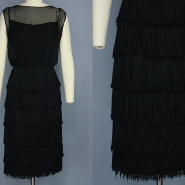 1960s FRINGE Dress   Vintage 60s Black Cocktail Dress with Tiered Fringe Skirt   medium by RelicVintageSF