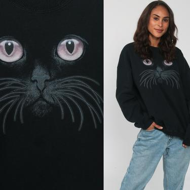 Cat Face Sweatshirt Black Kitten Sweater 80s Animal Sweatshirt Vintage 90s Graphic Retro Oversized Distressed kawaii Novelty Medium Large by ShopExile
