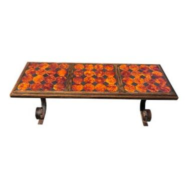 Mexican Tile Coffee Table With Ornate Wrought Iron
