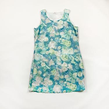90s Blue and White Rose Print A Line Mini Dress / Sheer Overlay / Medium / Large / Grunge / Aqua / y2k / 00s / Cyber / Club Kid / Grunge / by shoptrashdotnet