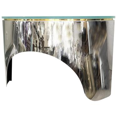 Pace Collection Mid Century Modern Demi Lune Sideboard In Metal