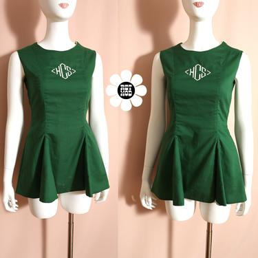 Adorable Vintage Green Cheerleader Dress with Emblem by RETMOD