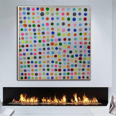 """Ship today! SPECIAL OFFER**#2 Dots & White LARGE 48""""x48"""" Unstretched Canvas Painting Abstract Minimalist Modern Original ArtbyDinaD by ArtbyDinaD"""